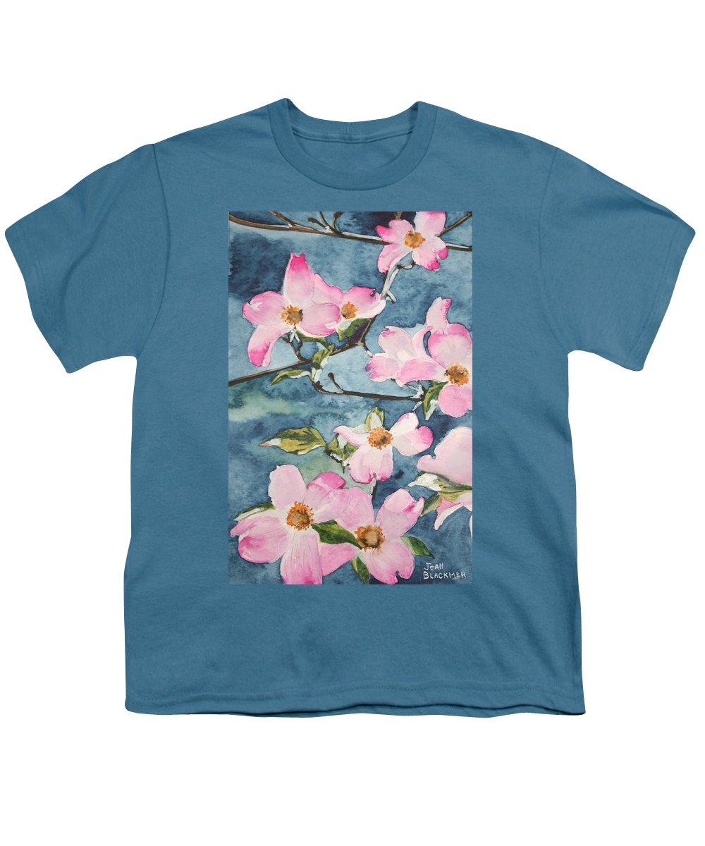 Flowers Youth T-Shirt featuring the painting Blushing Prettily by Jean Blackmer