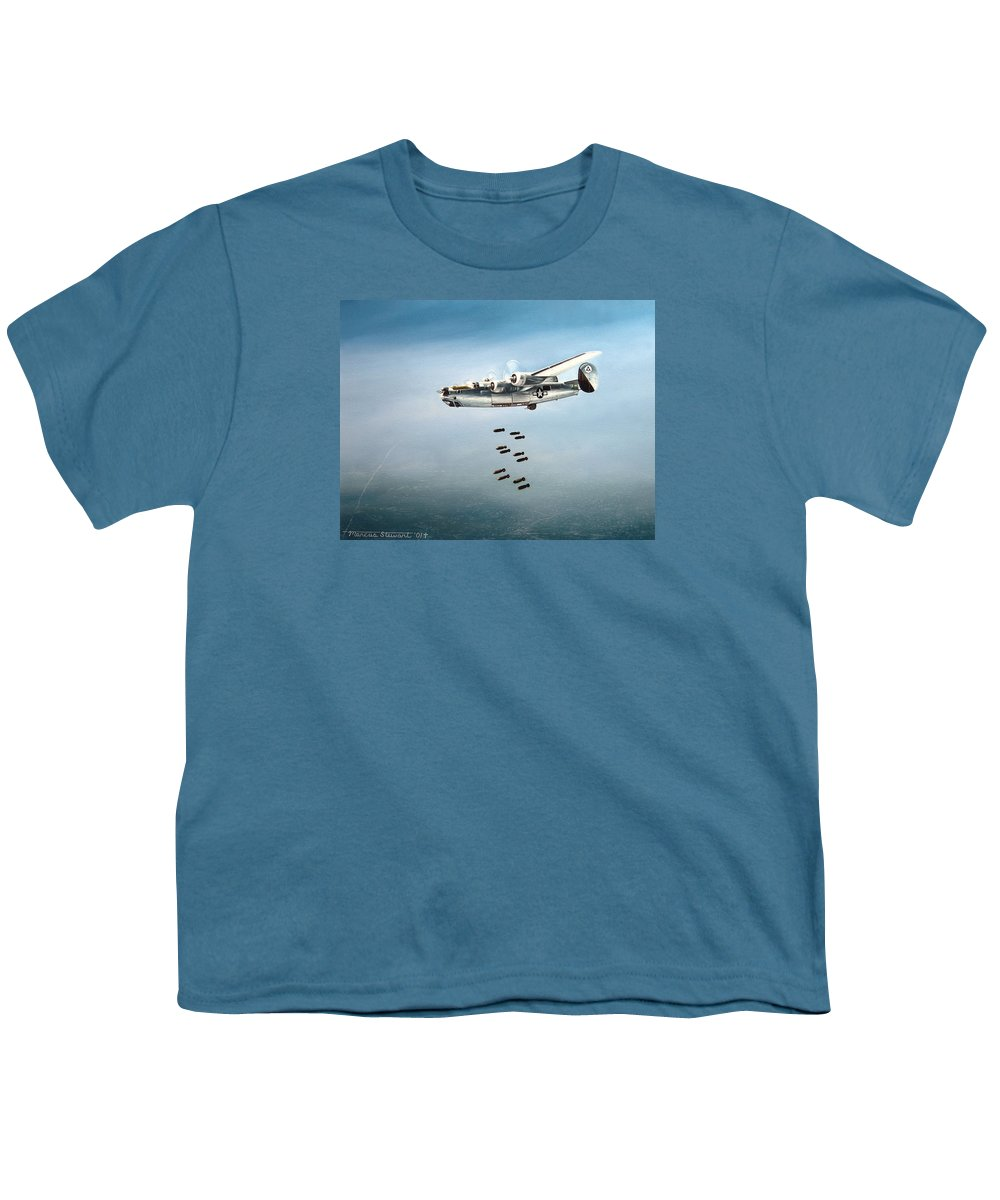 Aviation Youth T-Shirt featuring the painting Bombs Away by Marc Stewart