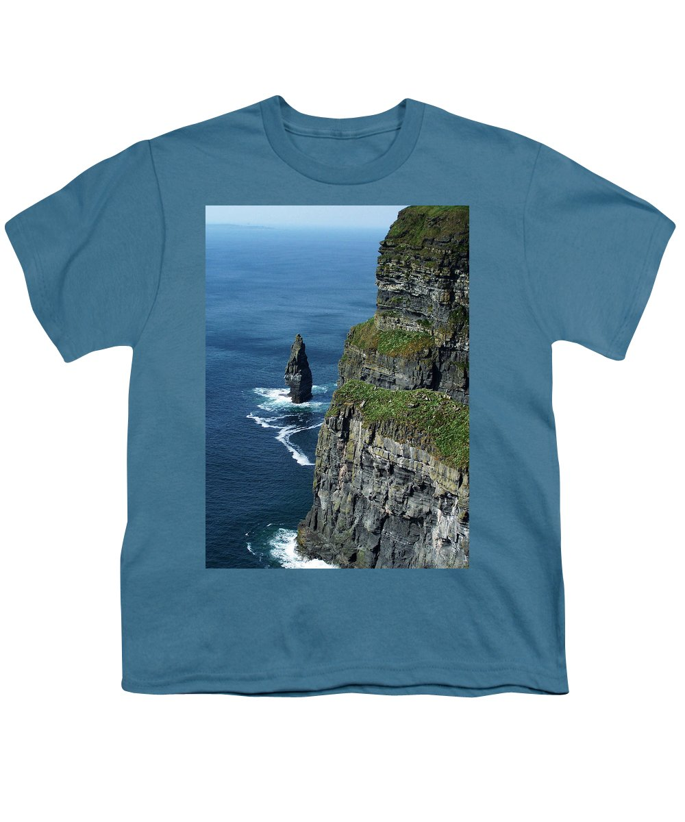 Irish Youth T-Shirt featuring the photograph Brananmore Cliffs Of Moher Ireland by Teresa Mucha