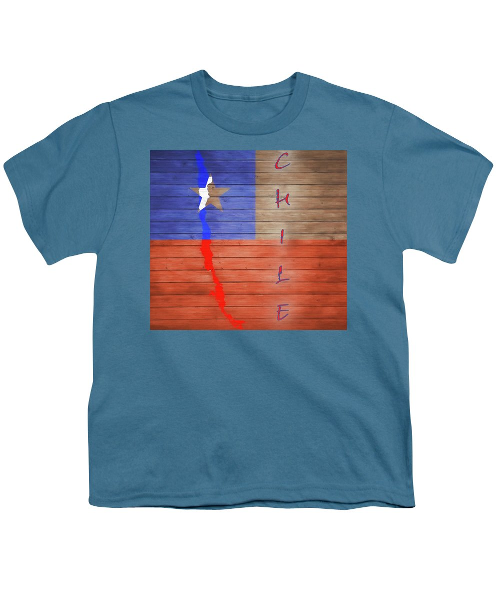 Chile Rustic Map On Wood Youth T-Shirt featuring the mixed media Chile Rustic Map On Wood by Dan Sproul