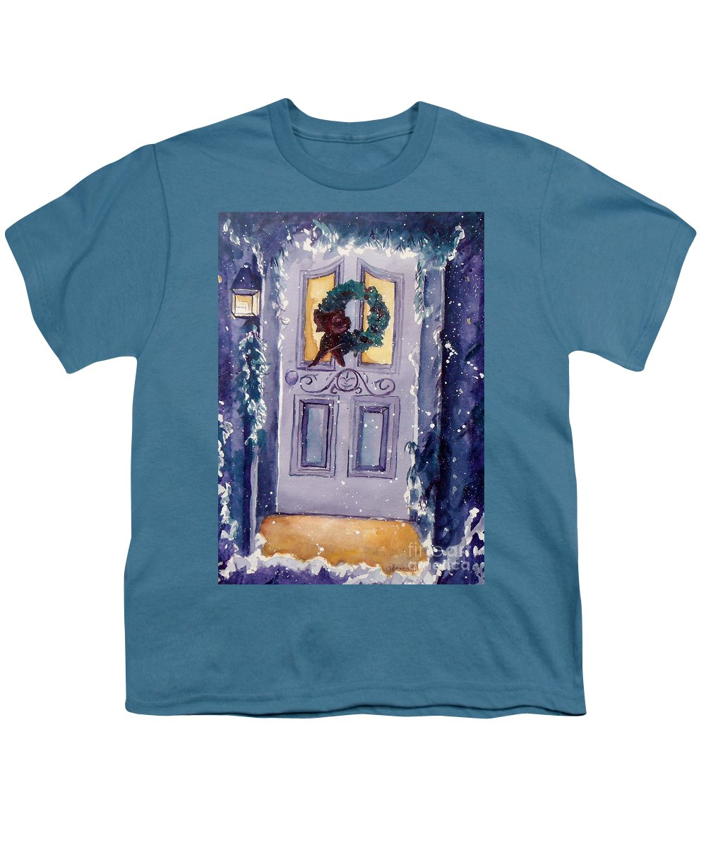 Holiday Scene Youth T-Shirt featuring the painting Christmas Eve by Jan Bennicoff