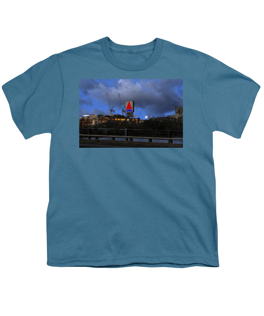 Citgo Sign Youth T-Shirt featuring the digital art Citgo Sign by Edward Cardini