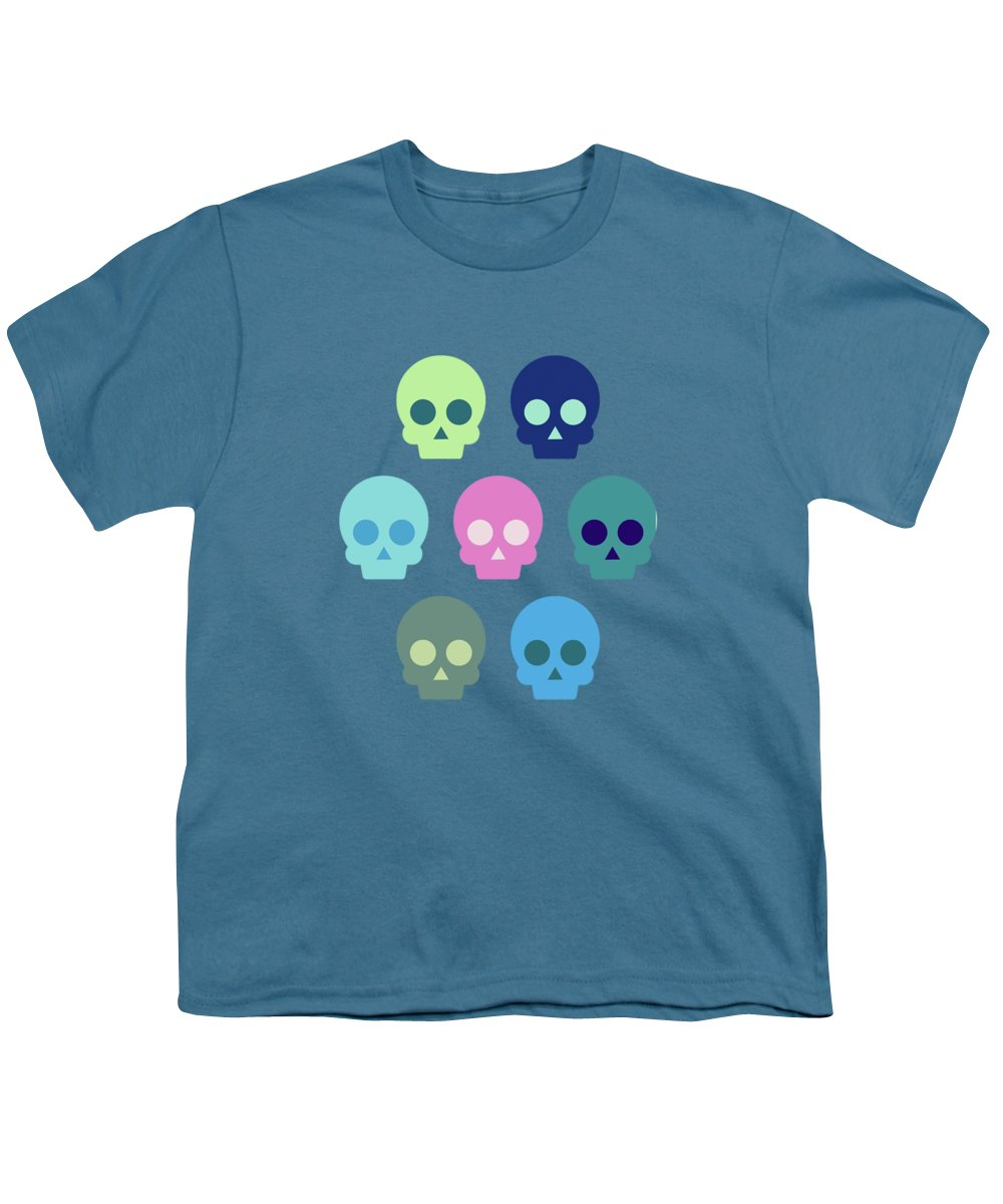 Skull Youth T-Shirt featuring the digital art Colorful Skull Cute Pattern by Amir Faysal