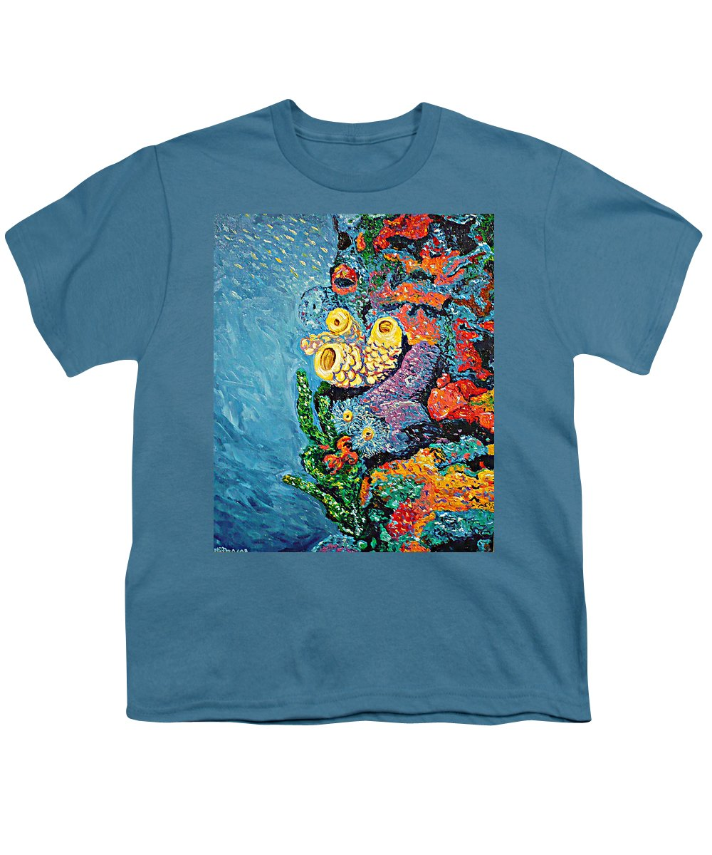 Coral Youth T-Shirt featuring the painting Coral With Cucumber by Ericka Herazo