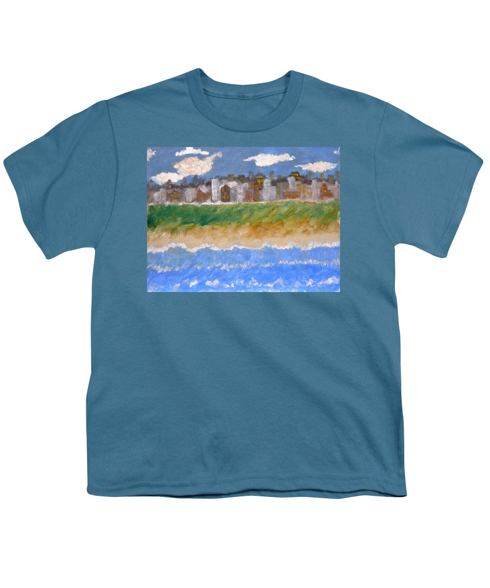 Seascape Youth T-Shirt featuring the painting Crowded Beaches by R B