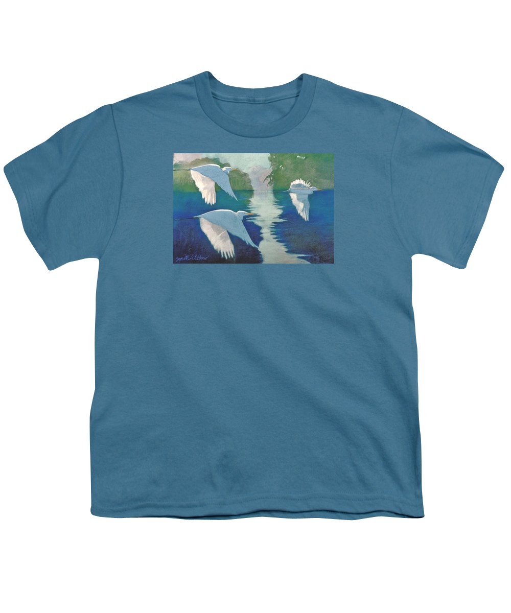 Birds Youth T-Shirt featuring the painting Dawn Patrol by Neal Smith-Willow