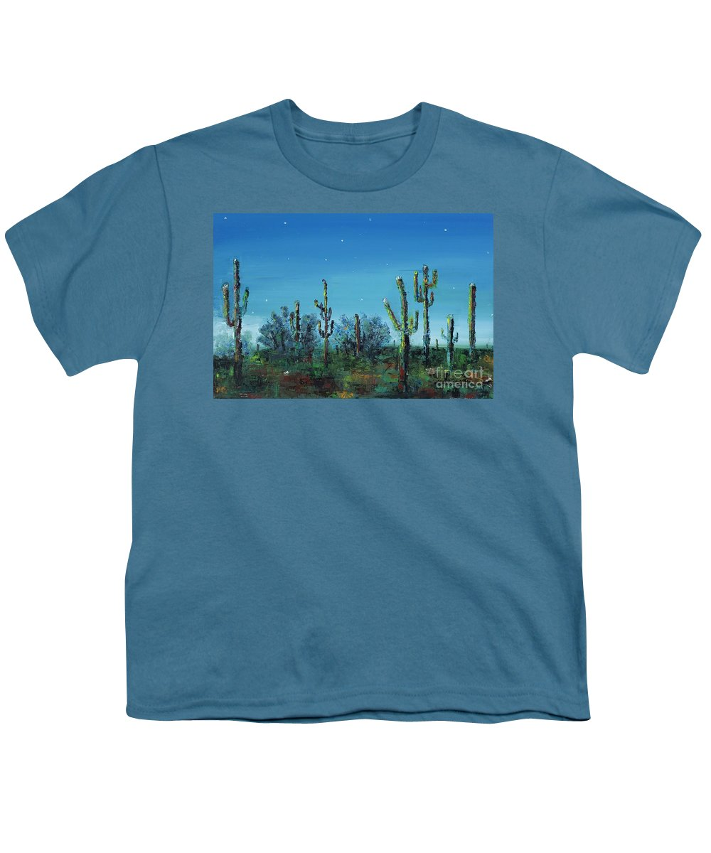 Desert Saguaro Catus In Bloom Youth T-Shirt featuring the painting Desert Blue by Frances Marino