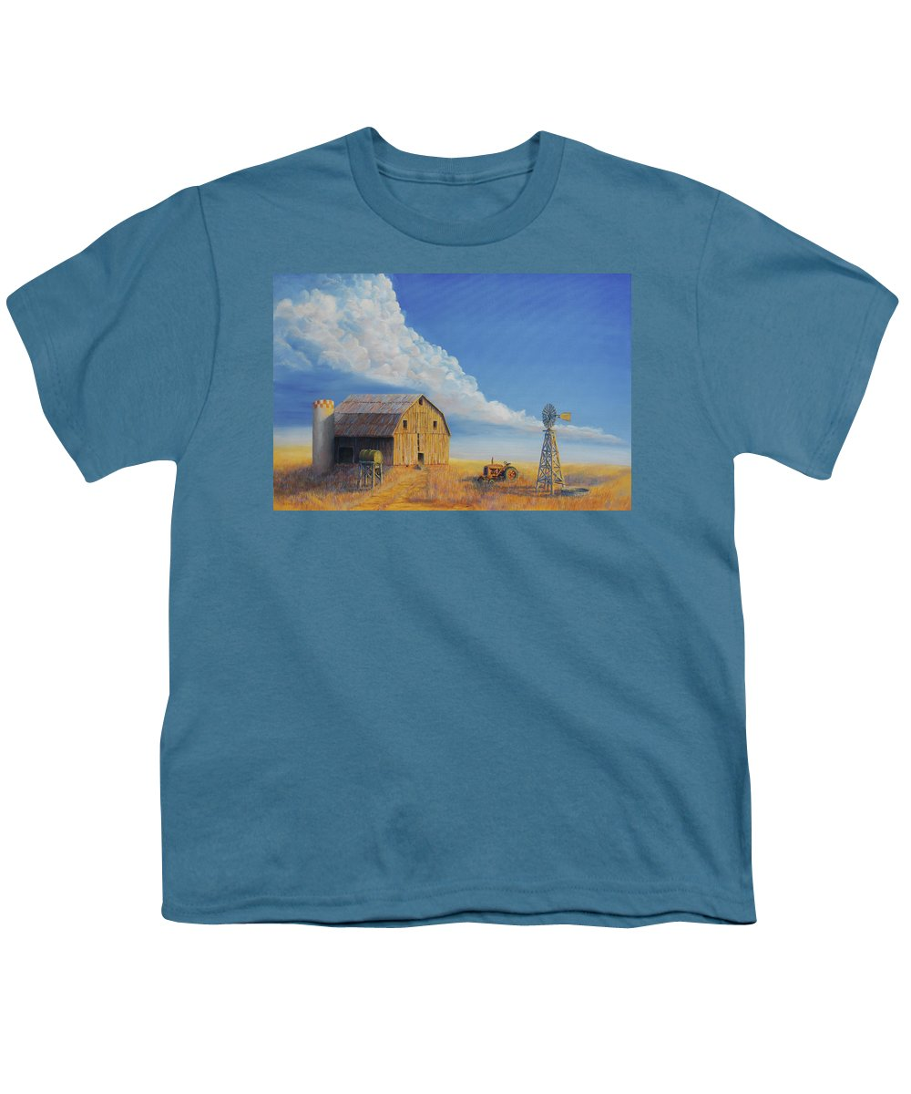 Barn Youth T-Shirt featuring the painting Downtown Wyoming by Jerry McElroy