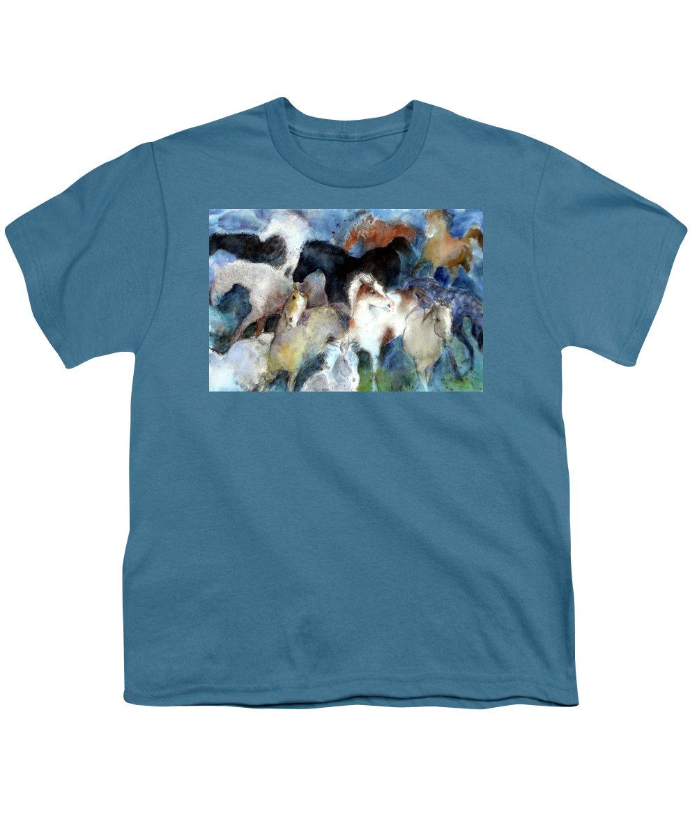 Horses Youth T-Shirt featuring the painting Dream Of Wild Horses by Christie Michelsen
