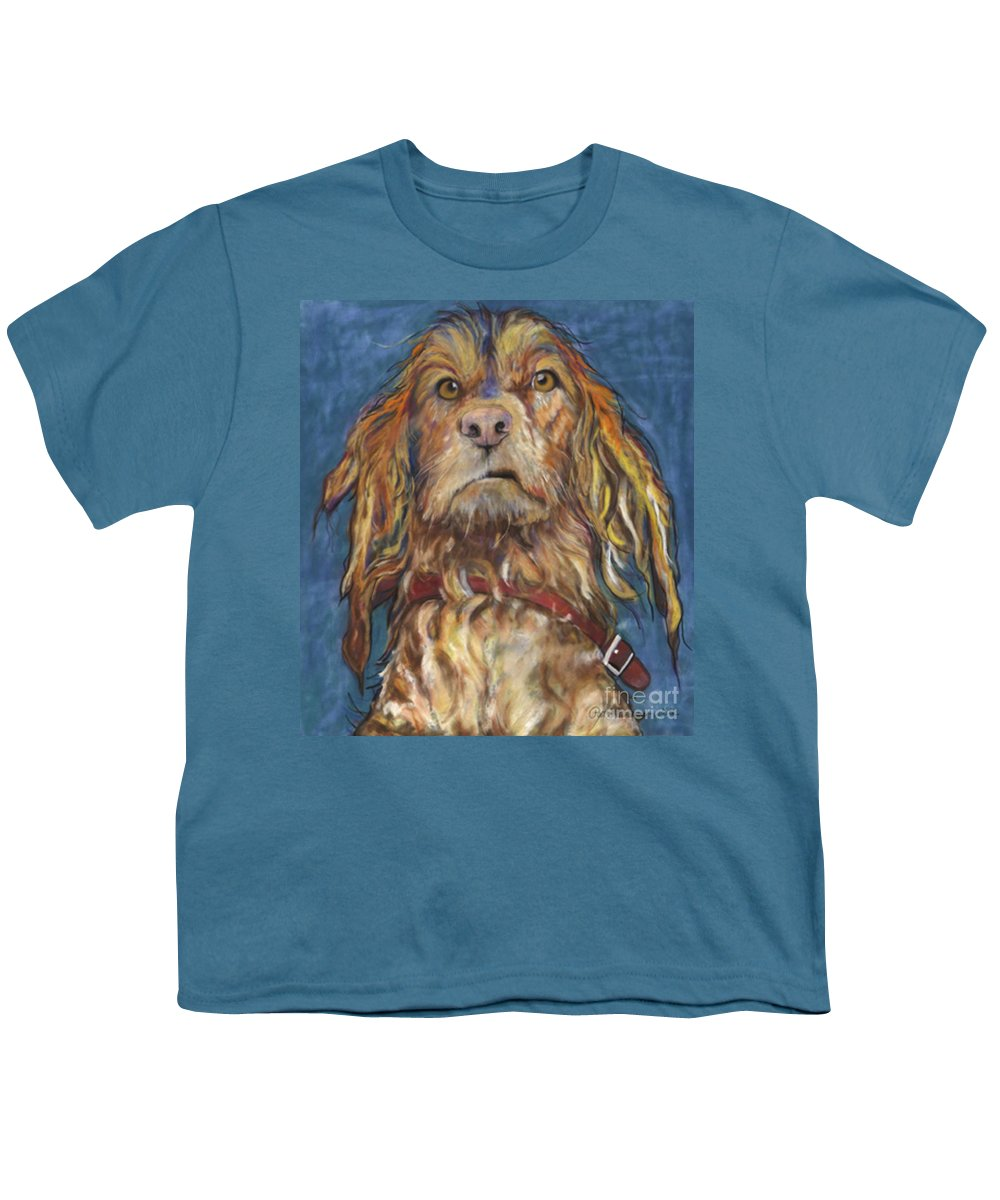 Golden Retriever Painting Youth T-Shirt featuring the pastel Drenched by Pat Saunders-White