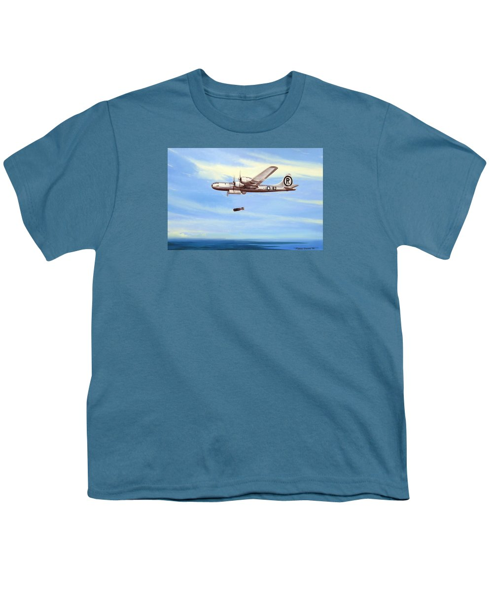 Military Youth T-Shirt featuring the painting Enola Gay by Marc Stewart