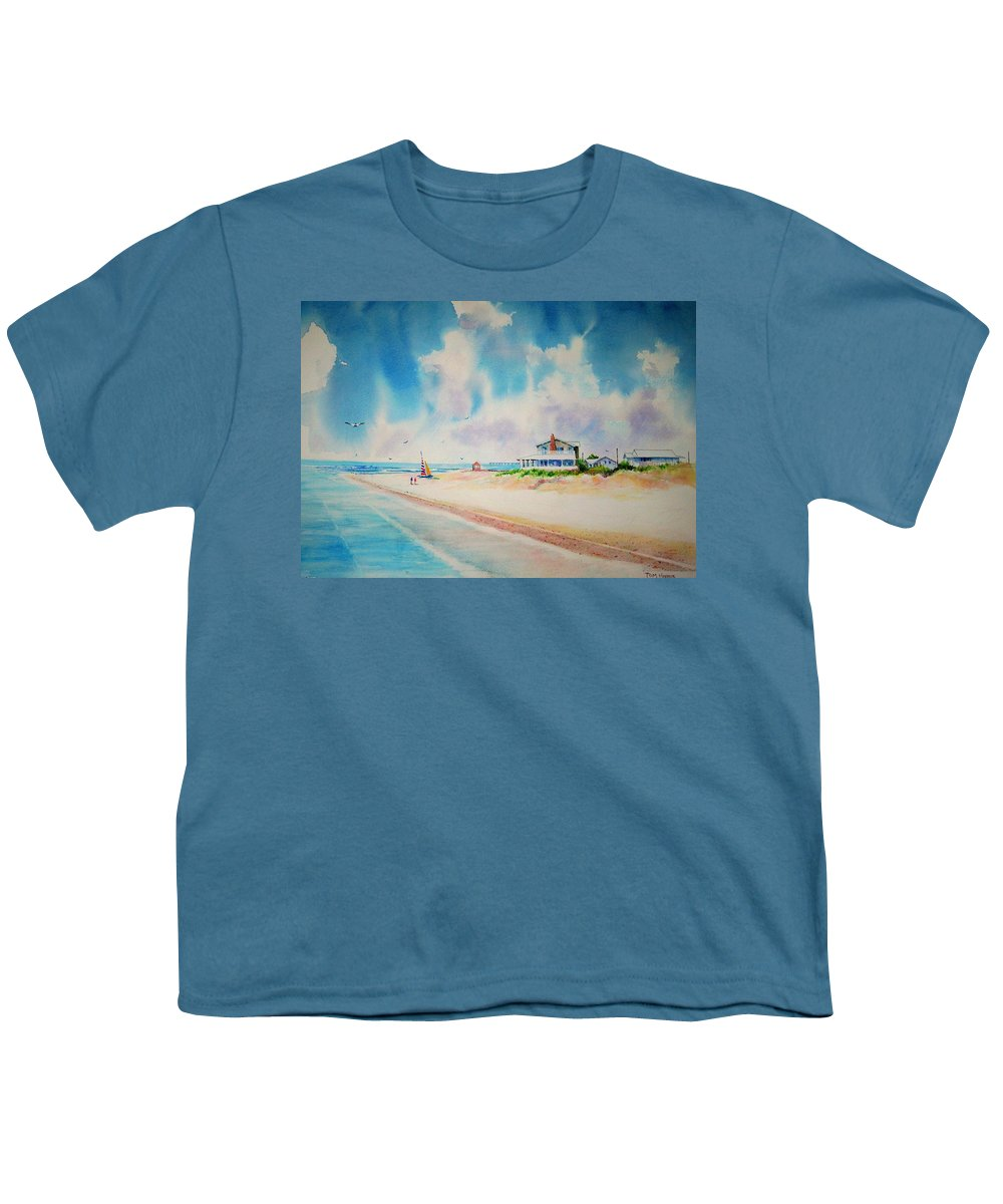 Beach Youth T-Shirt featuring the painting First Day Of Vacation Is Pricless by Tom Harris