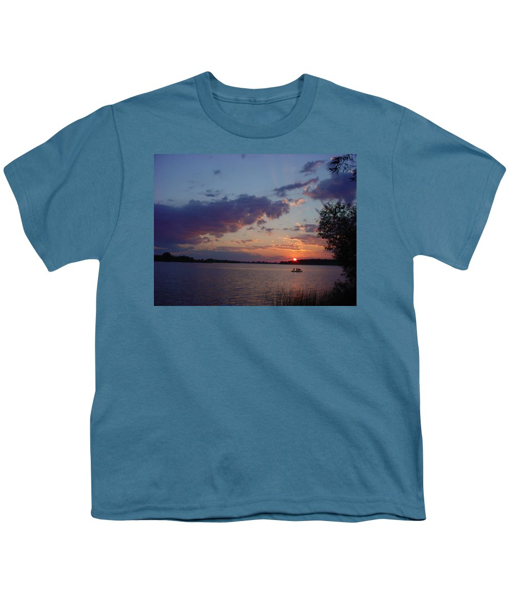 St.lawrence River Youth T-Shirt featuring the photograph Fishing On The St.lawrence River. by Jerrold Carton