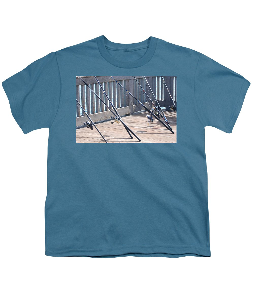Pier Youth T-Shirt featuring the photograph Fishing Rods by Rob Hans