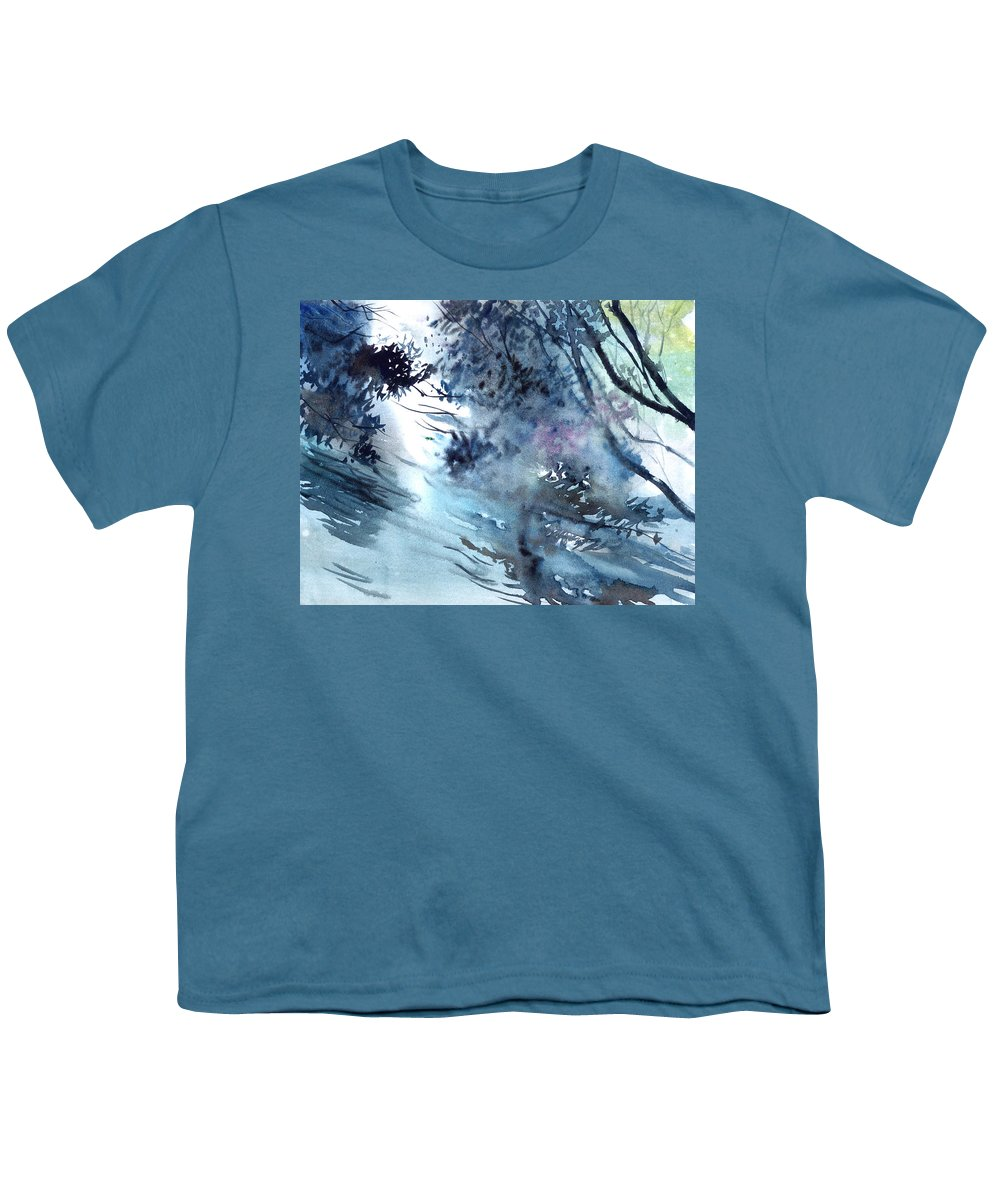 Floods Youth T-Shirt featuring the painting Flooding by Anil Nene