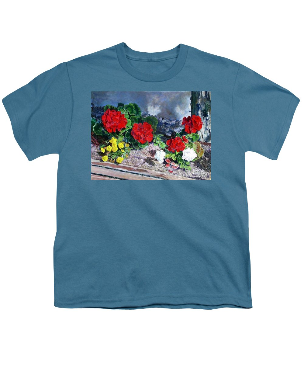 Colorful Flowers Outside Of The Church Youth T-Shirt featuring the painting Flowers At Church by Scott Robertson