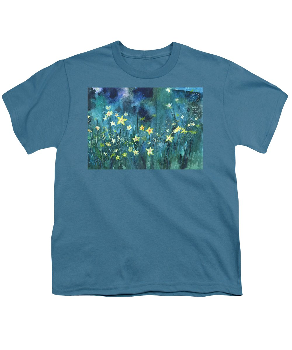 Landscape Youth T-Shirt featuring the painting Flowers N Breeze by Anil Nene