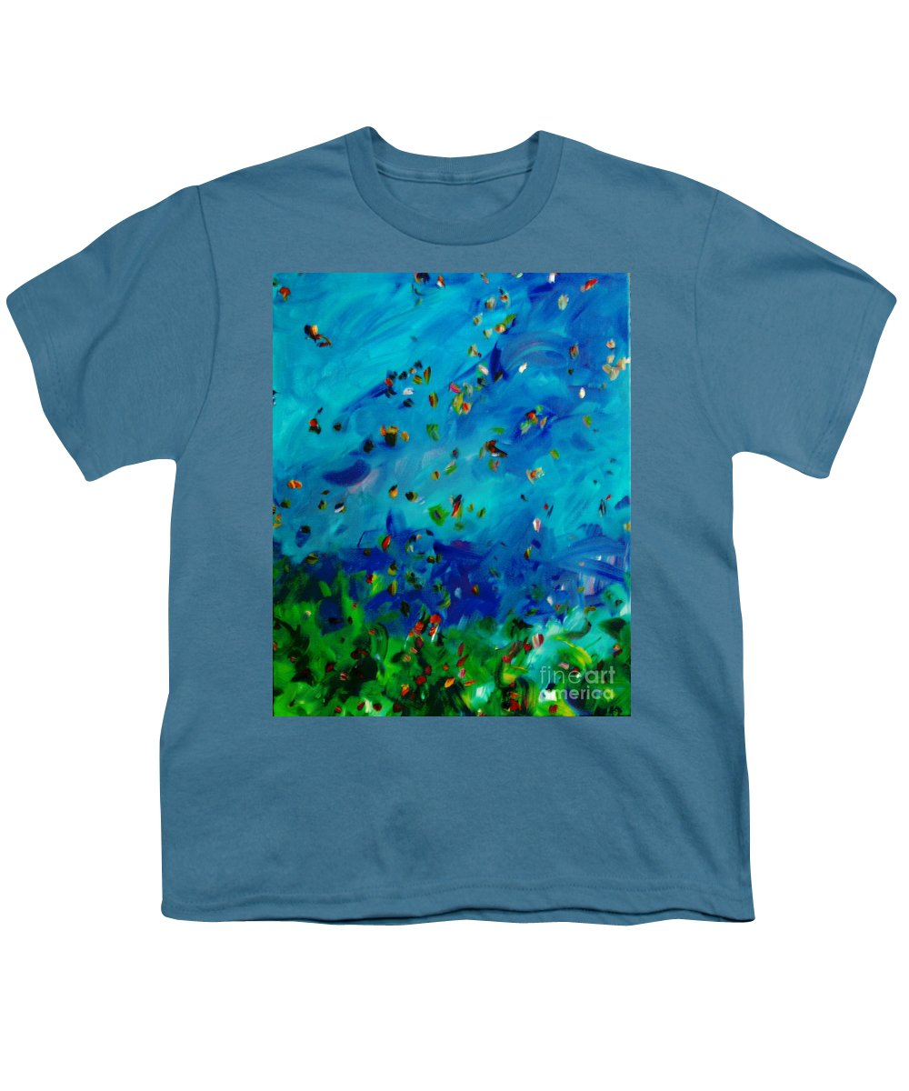 Landscape Youth T-Shirt featuring the painting Freelancing by Reina Resto