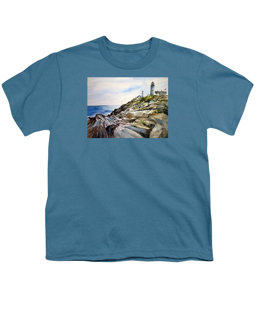 Pemaquid Light House;rocks;ocean;maine;pemaquid;light;lighthouse; Youth T-Shirt featuring the painting From The Rocks Below by Lois Mountz