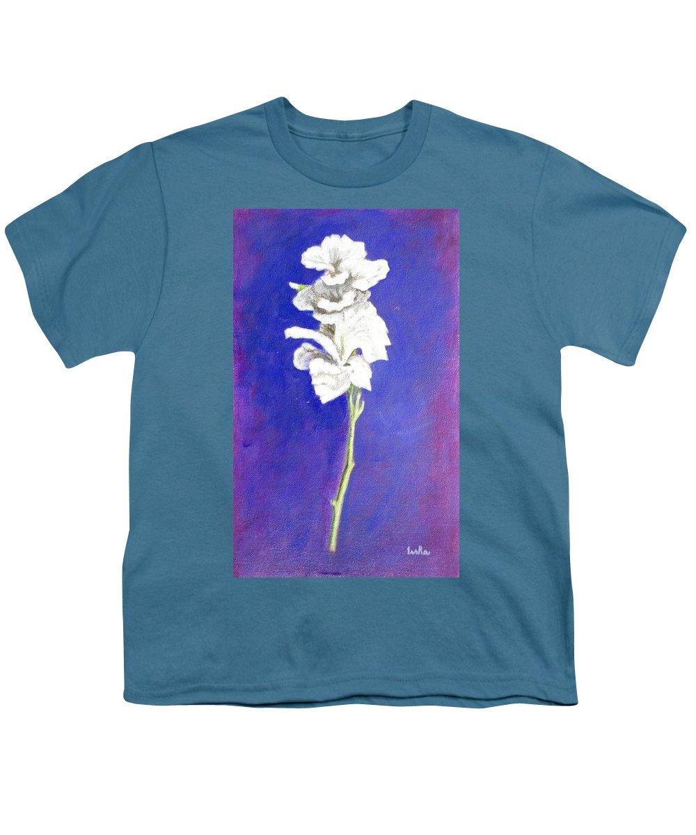 Flower Youth T-Shirt featuring the painting Gladiolus 1 by Usha Shantharam