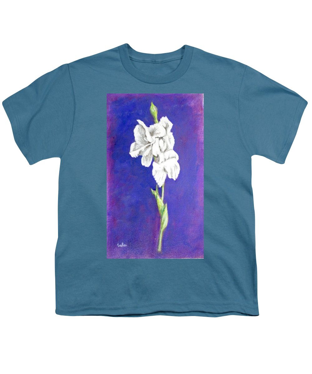 Youth T-Shirt featuring the painting Gladiolus 2 by Usha Shantharam