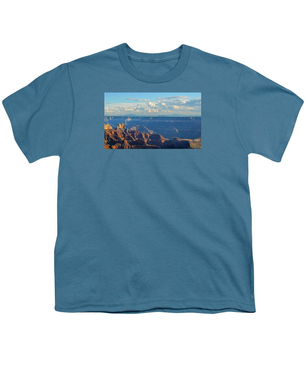 Grand Canyon Youth T-Shirt featuring the photograph Grand Canyon North Rim Sunset San Francisco Peaks by Victoria Oldham