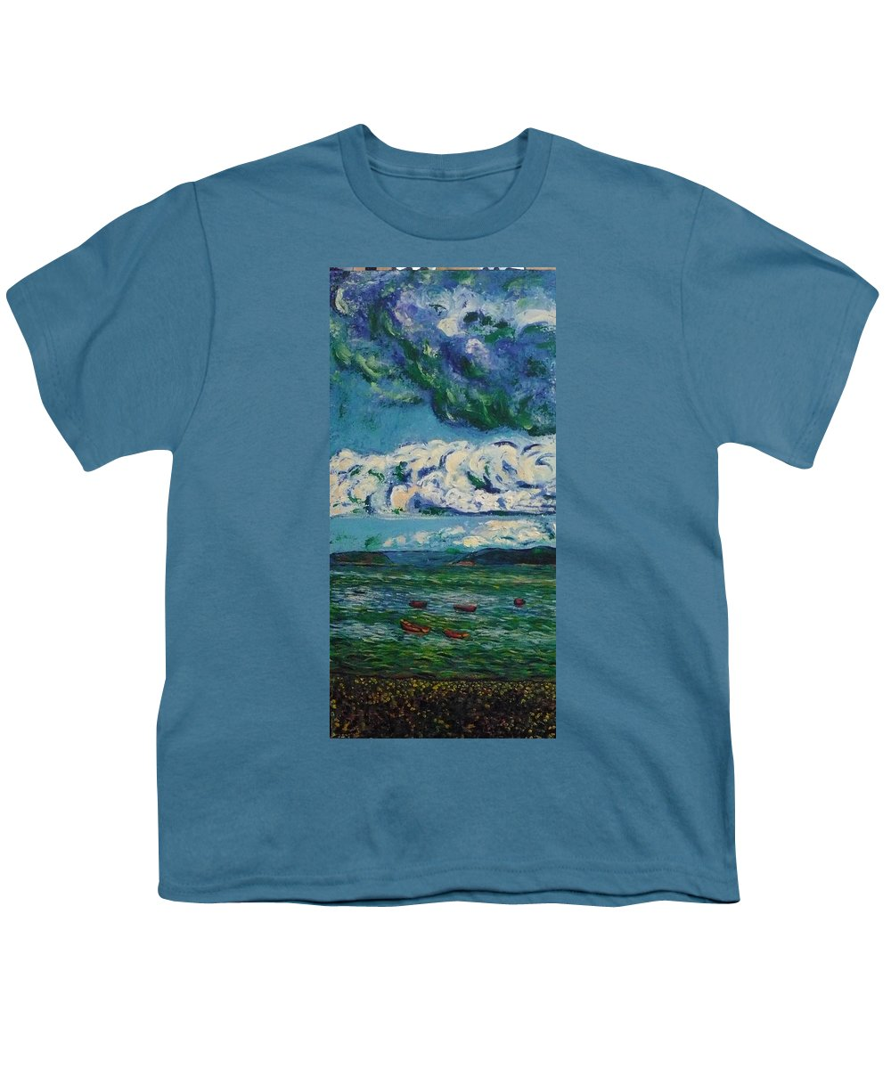 Landscape Youth T-Shirt featuring the painting Green Beach by Ericka Herazo