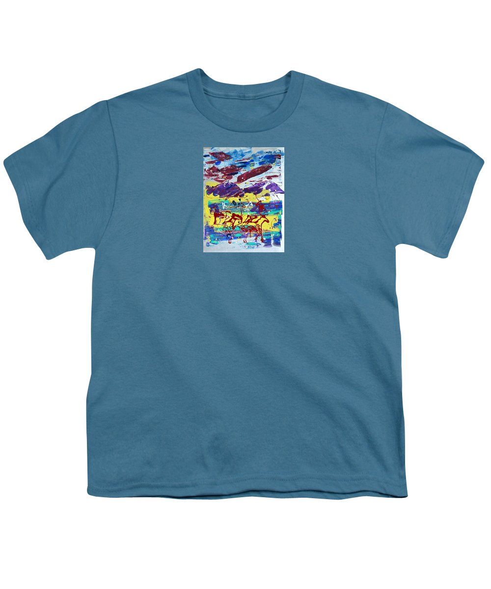 Horses Grazing Youth T-Shirt featuring the painting Green Pastures And Purple Mountains by J R Seymour