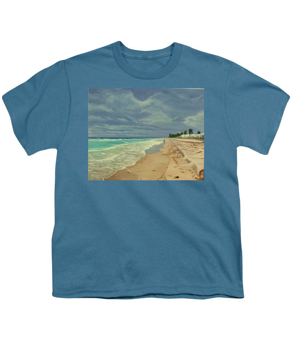 Beach Youth T-Shirt featuring the painting Grey Day On The Beach by Lea Novak