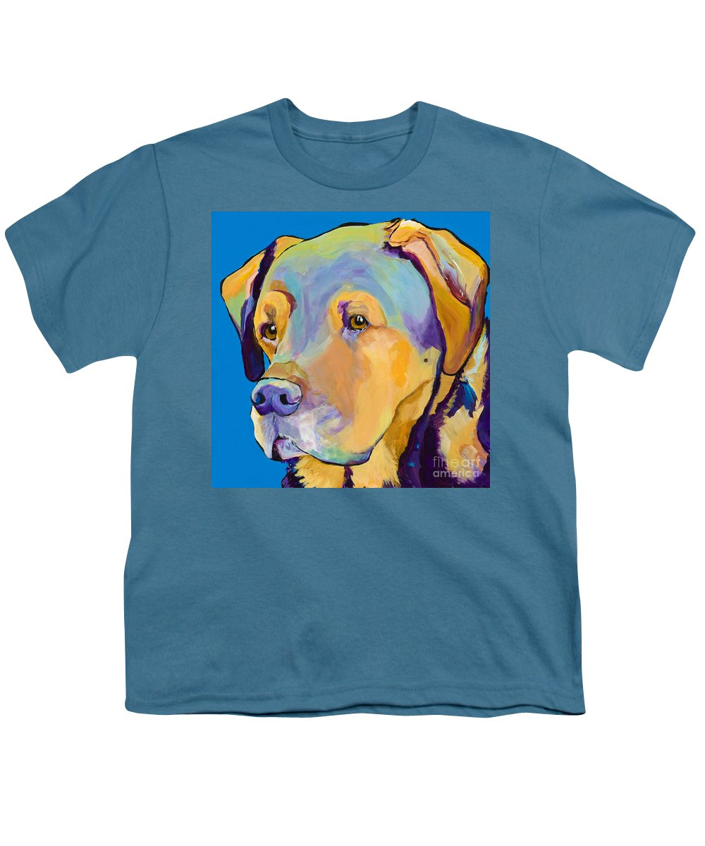 Dog Portrait Youth T-Shirt featuring the painting Gunner by Pat Saunders-White