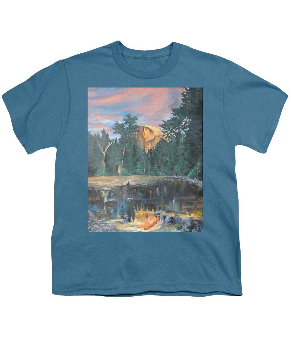 Sunset Youth T-Shirt featuring the painting Half Dome Sunset by Travis Day