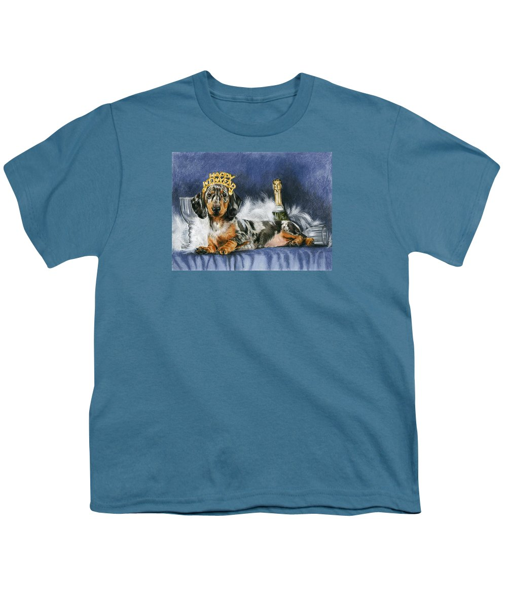 Dog Youth T-Shirt featuring the mixed media Happy New Year by Barbara Keith