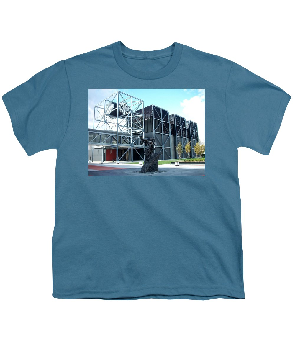 Architechture Youth T-Shirt featuring the photograph Harley Museum And Statue by Anita Burgermeister