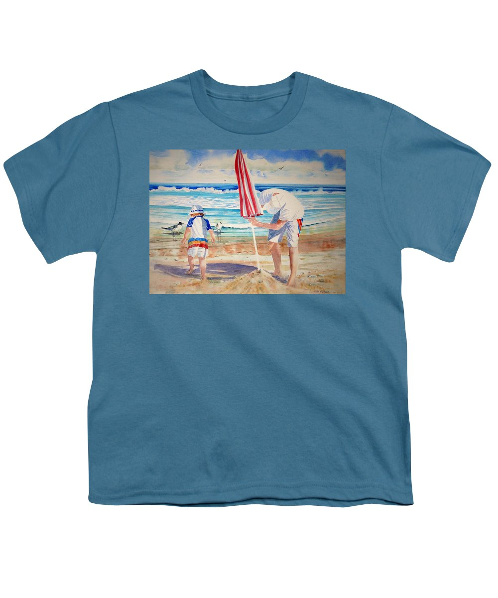 Beach Youth T-Shirt featuring the painting Helping Dad Set Up The Camp by Tom Harris