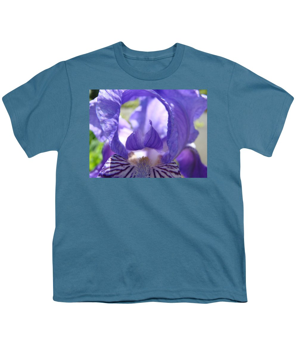 �irises Artwork� Youth T-Shirt featuring the photograph Iris Flower Purple Irises Floral Botanical Art Prints Macro Close Up by Baslee Troutman