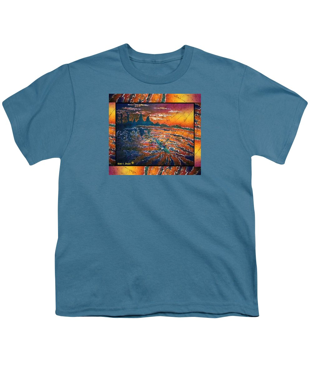 Kayak Youth T-Shirt featuring the painting Kayaking Serenity - Bordered by Sue Duda