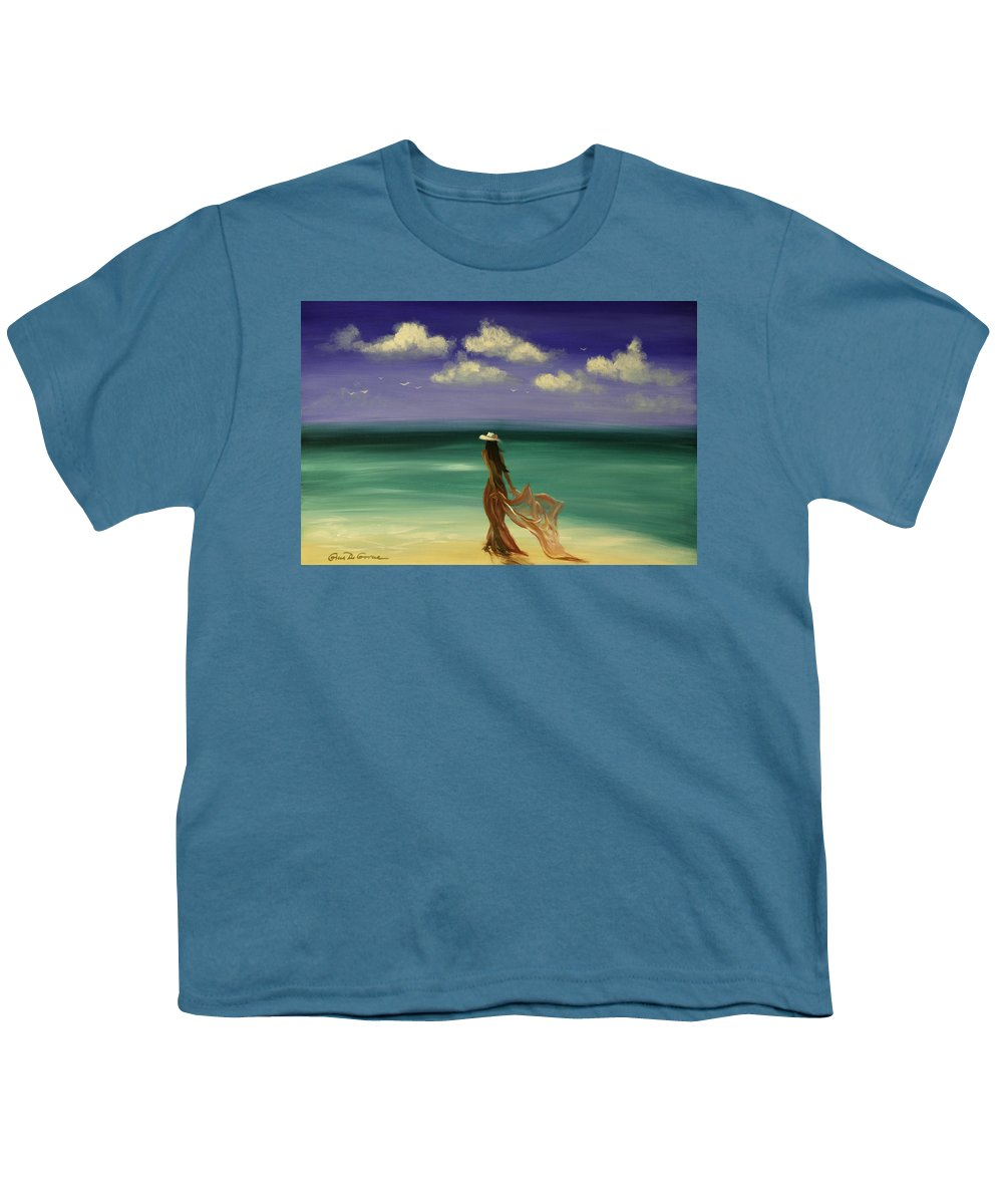 Nice Youth T-Shirt featuring the painting Lady In Red by Gina De Gorna