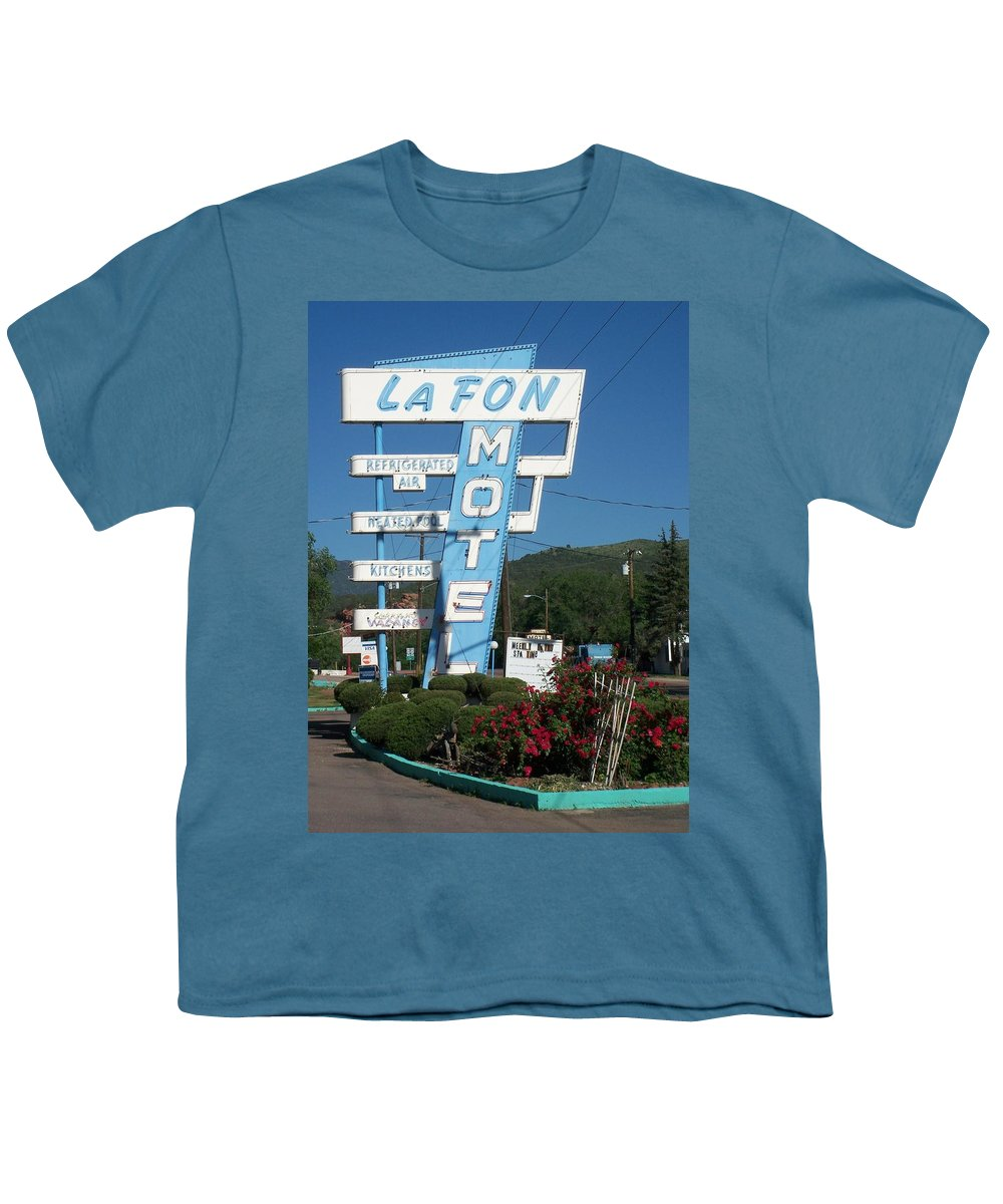 Vintage Motel Signs Youth T-Shirt featuring the photograph Lafon Motel by Anita Burgermeister