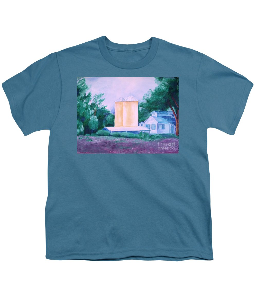 Western Youth T-Shirt featuring the painting Lavender Farm Albuquerque by Eric Schiabor