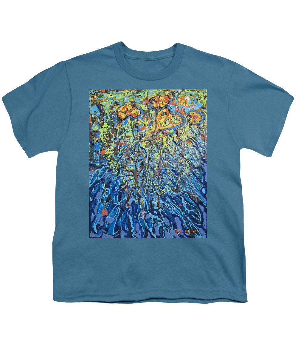 Lily Pads Paintings Youth T-Shirt featuring the painting Lily Pads Water Lily Paintings by Seon-Jeong Kim