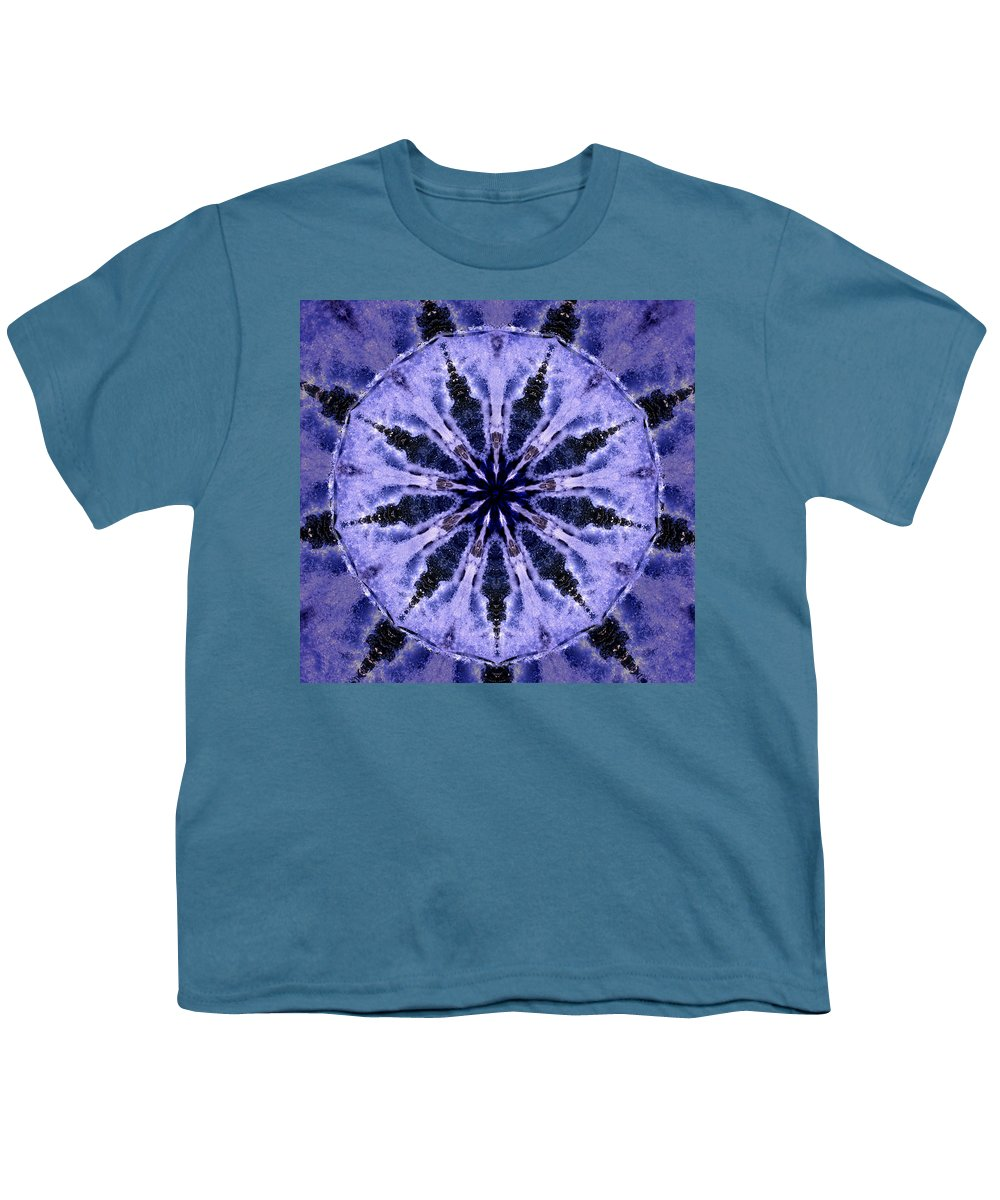 Mandala Youth T-Shirt featuring the digital art Mandala Ocean Wave by Nancy Griswold