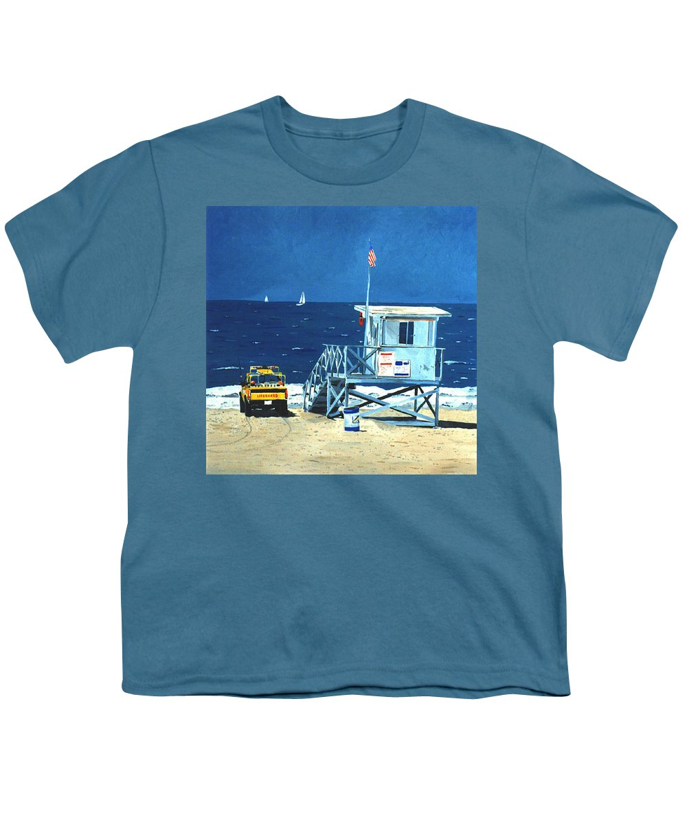 Modern Youth T-Shirt featuring the painting Manhattan Beach Lifeguard Station by Lance Headlee