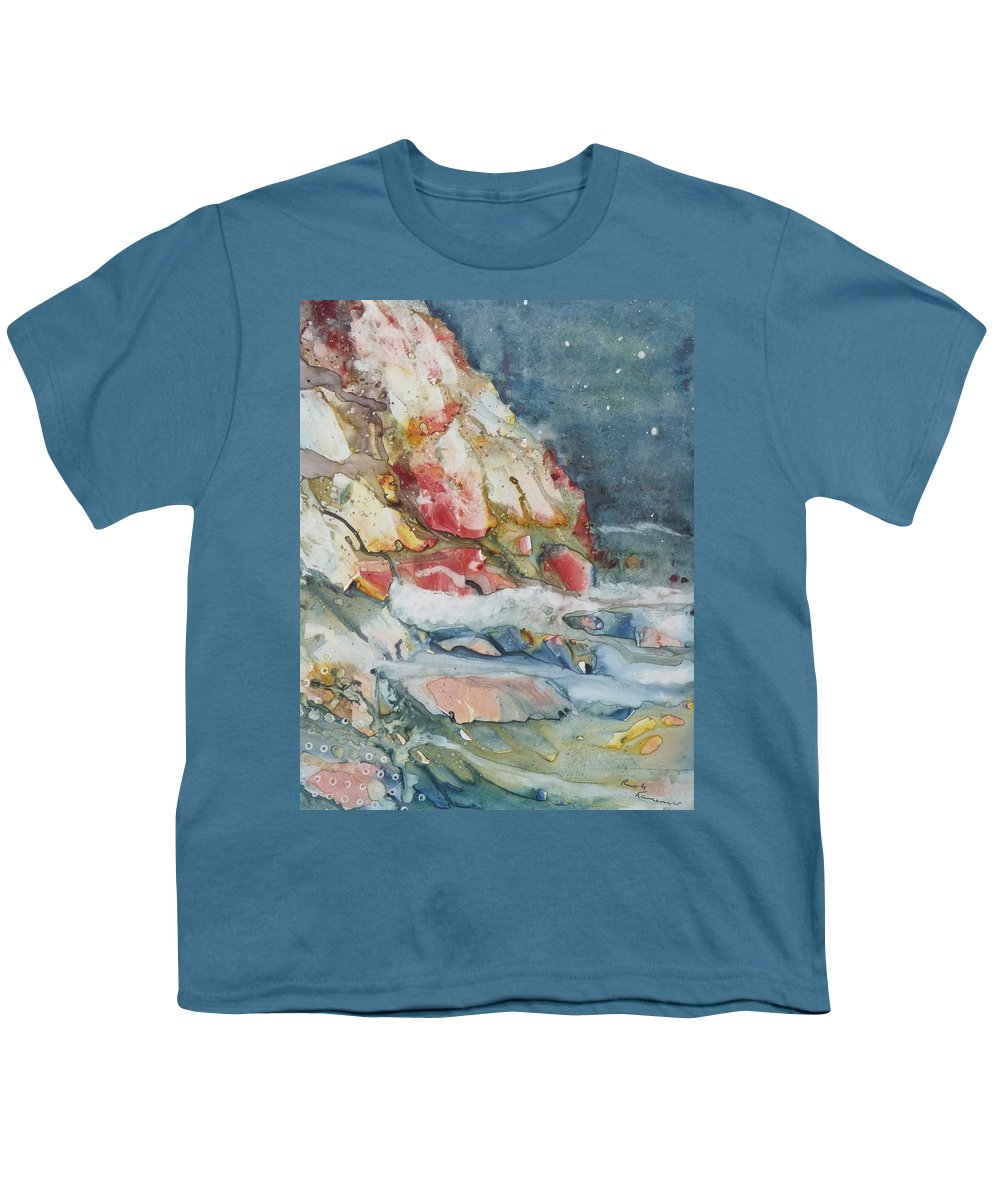 Abstract Youth T-Shirt featuring the painting Midnight Surf by Ruth Kamenev