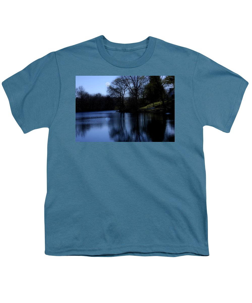Moon Youth T-Shirt featuring the digital art Moon Over The Charles by Edward Cardini