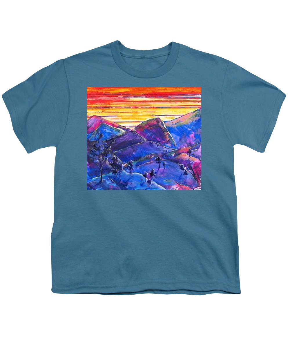 Mountains Youth T-Shirt featuring the painting Mountainscape Blue by Rollin Kocsis