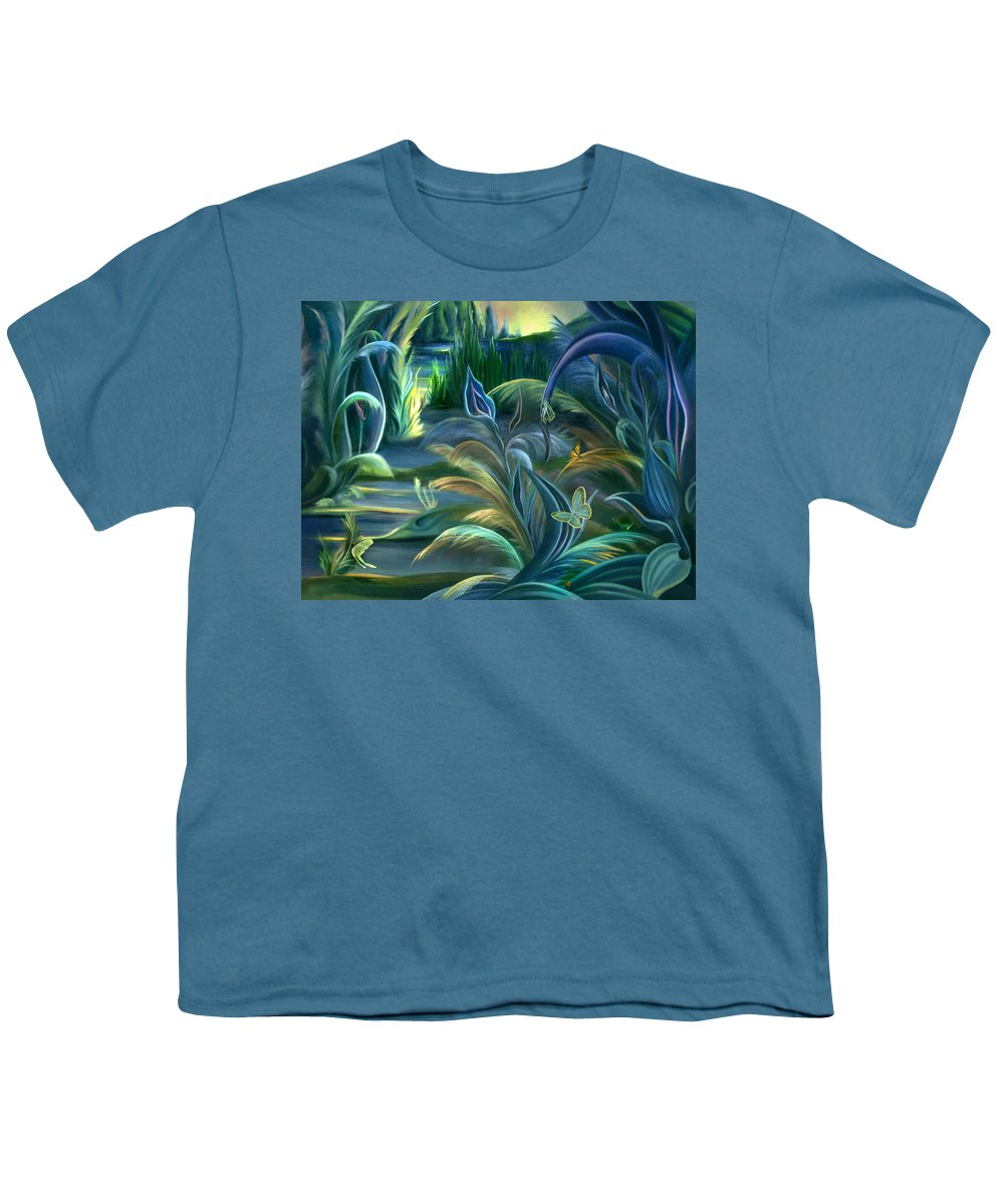 Mural Youth T-Shirt featuring the painting Mural Insects Of Enchanted Stream by Nancy Griswold