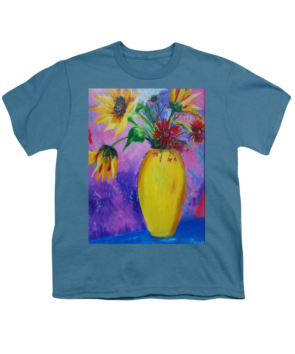 Sunflowers Youth T-Shirt featuring the painting My Flowers by Melinda Etzold