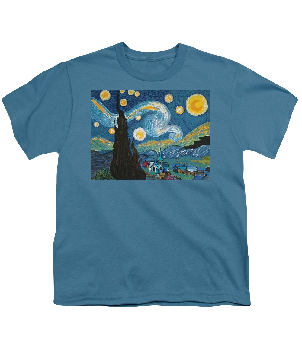 Vincent Youth T-Shirt featuring the painting My Starry Nite by Angela Miles Varnado