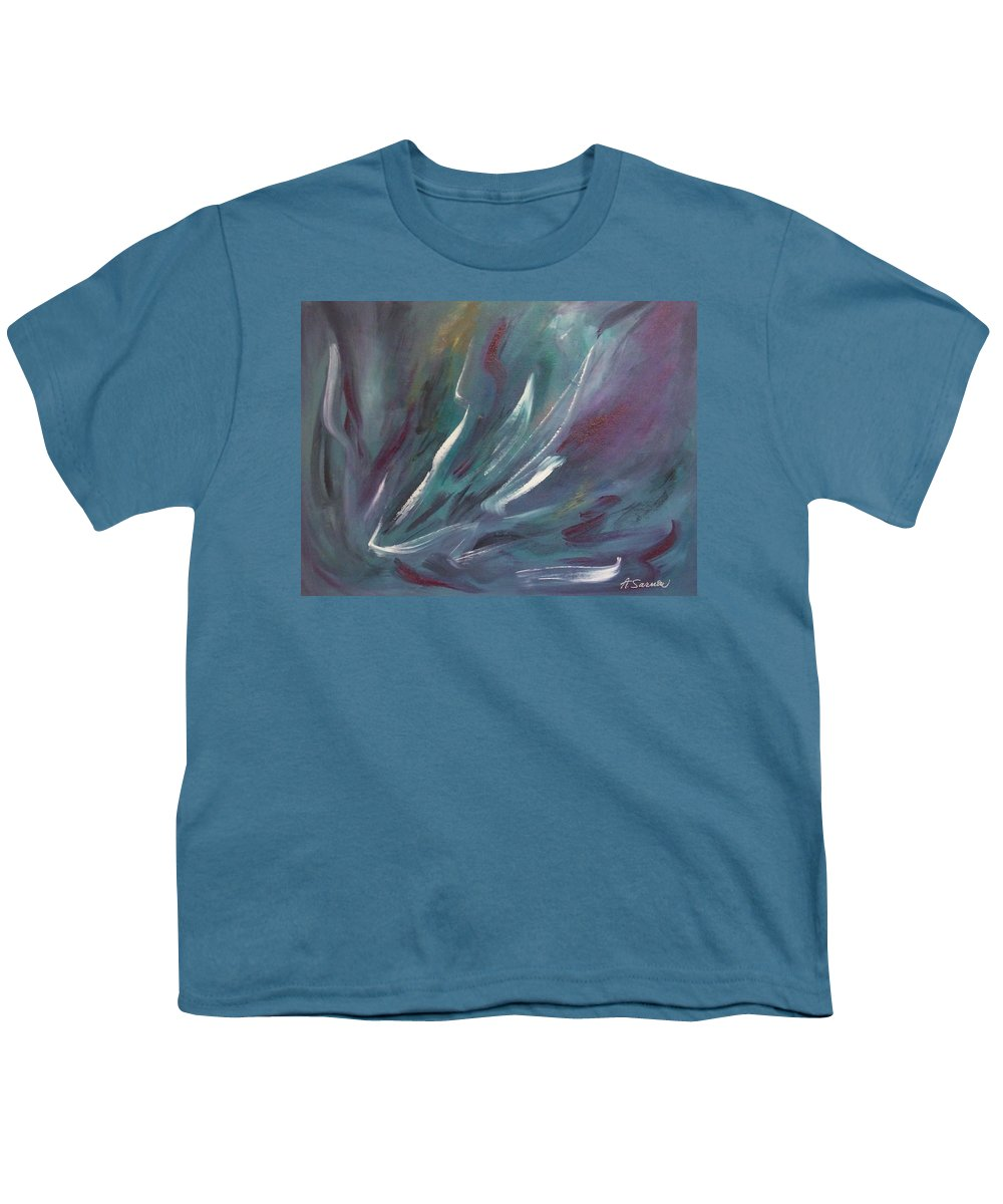 Acrylic Youth T-Shirt featuring the painting Nebula by Anita Burgermeister
