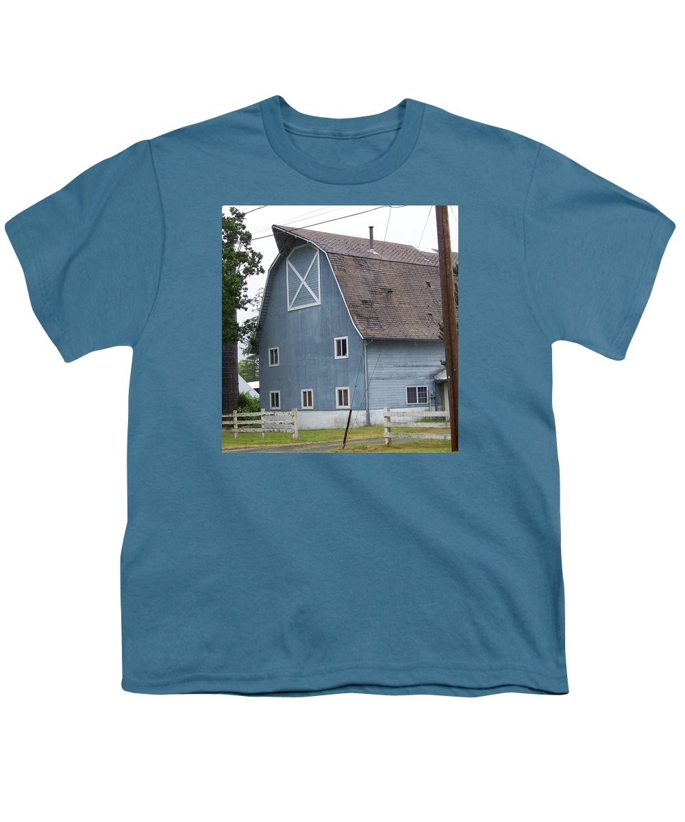 Old Youth T-Shirt featuring the photograph Old Blue Barn Littlerock Washington by Laurie Kidd